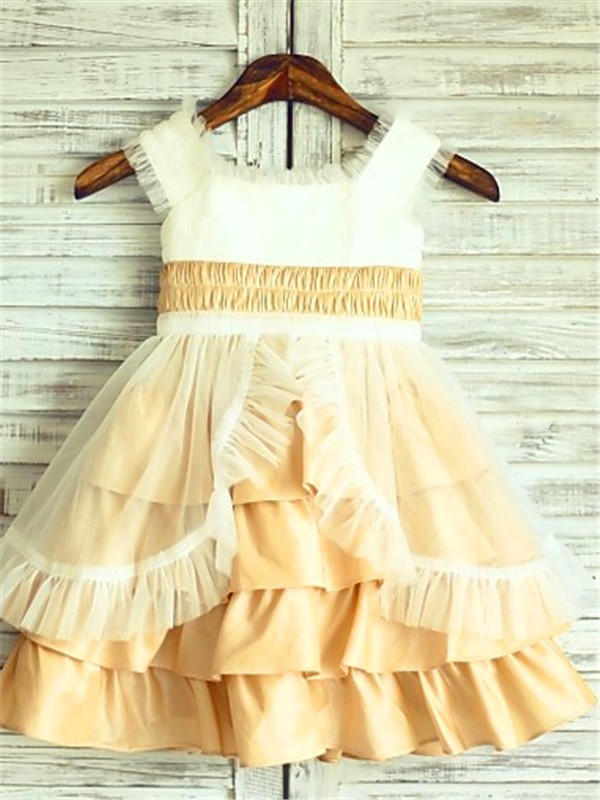 A-line Square Sleeveless Layers Tea-Length Satin Flower Girl Dress