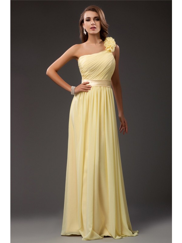 Sheath/Column One Shoulder Ruffles Long Sleeveless Chiffon Dresses
