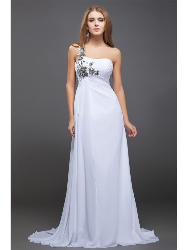 A-Line/Princess One-Shoulder Sequin Lace Sleeveless Long Chiffon Dresses