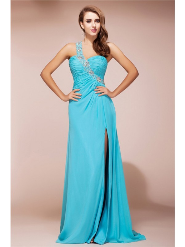 Sheath/Column One Shoulder Beading Sleeveless Slit Long Chiffon Dresses