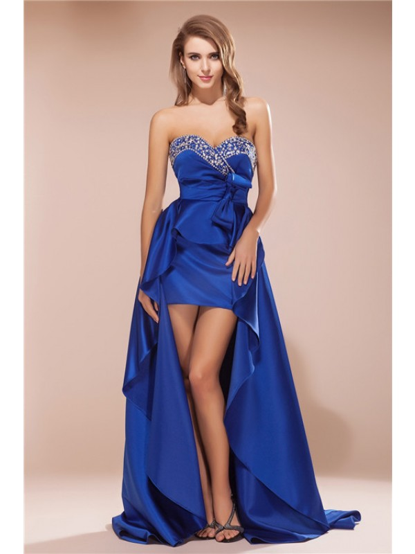 A-Line/Princess Sweetheart Rhinestone Sleeveless High Low Satin Dresses