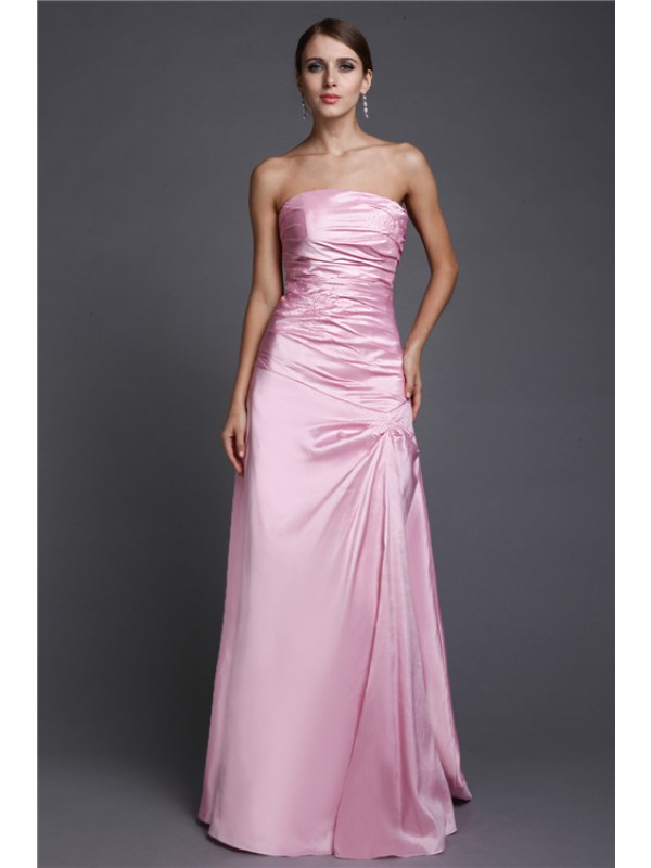 A-Line/Princess Strapless Long Beading Elastic Woven Satin Dresses