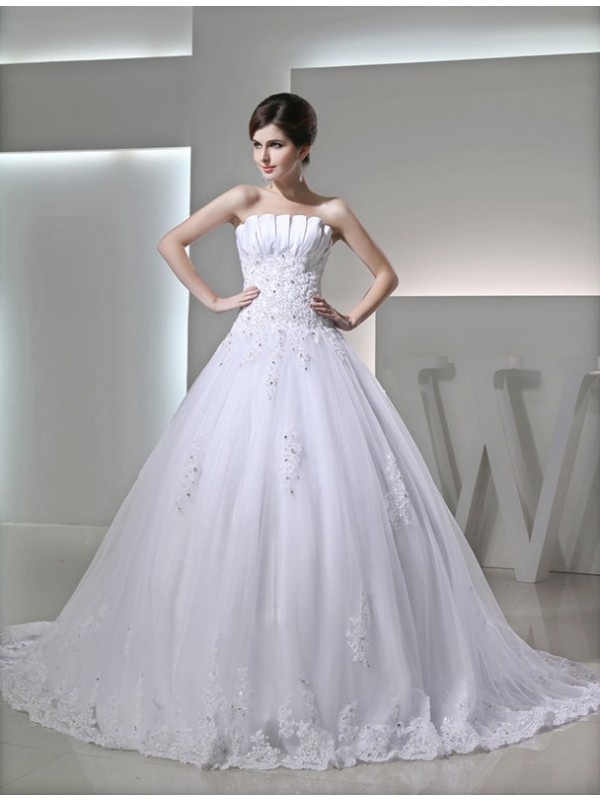 Ball Gown Beading Sleeveless Strapless Satin Applique Wedding Dresses