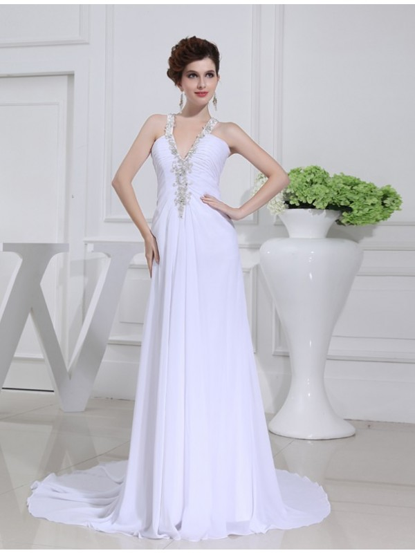 A-Line/Princess Beading V-neck Sleeveless Chiffon Wedding Dresses