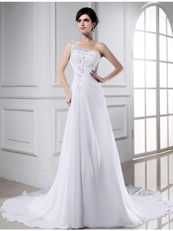 A-Line/Princess Beading One-shoulder Sleeveless Long Chiffon Wedding Dresses