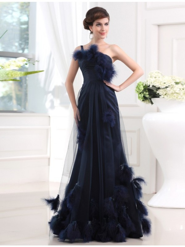 1bba0e3af2ab Trumpet/Mermaid One-shoulder Sleeveless Long Satin Tulle Feathers/Fur  Dresses ...