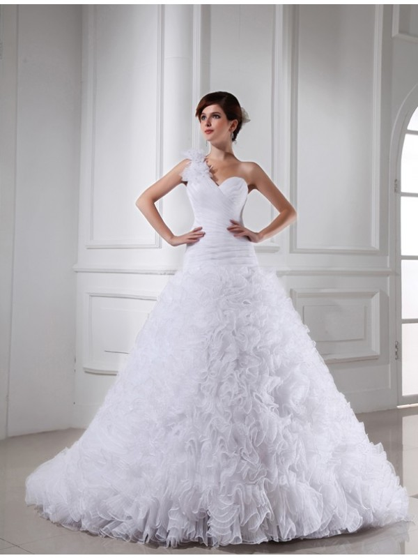 Ball Gown Beading One-shoulder Sweetheart Sleeveless Long Organza Wedding Dresses