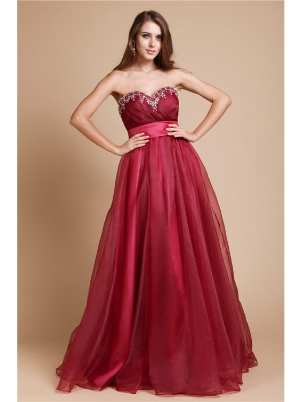 A-Line/Princess Sweetheart Sleeveless Long Organza Dresses