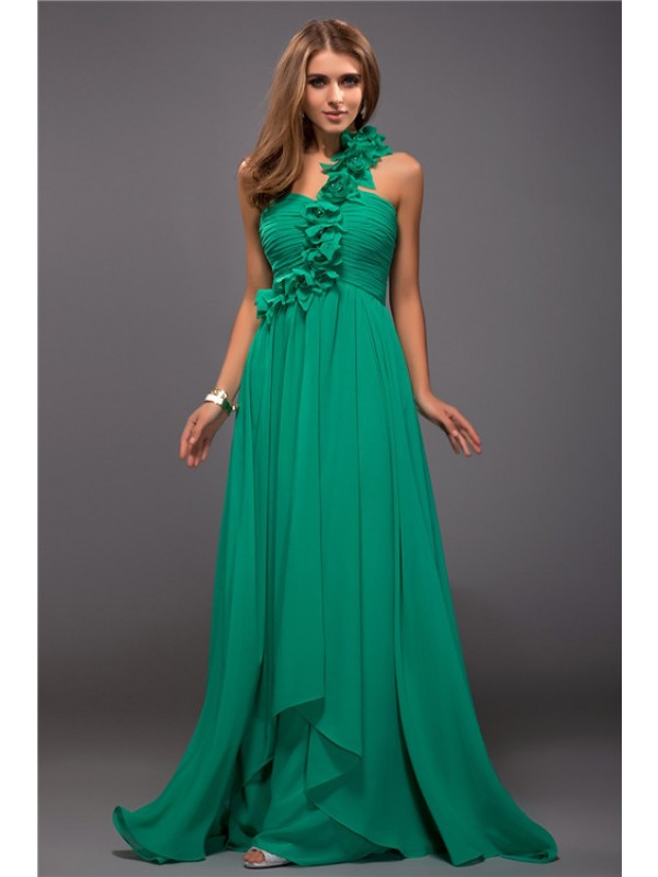 Sheath/Column One Shoulder Ruffles Sleeveless Hand-Made Flower Long Chiffon Dresses