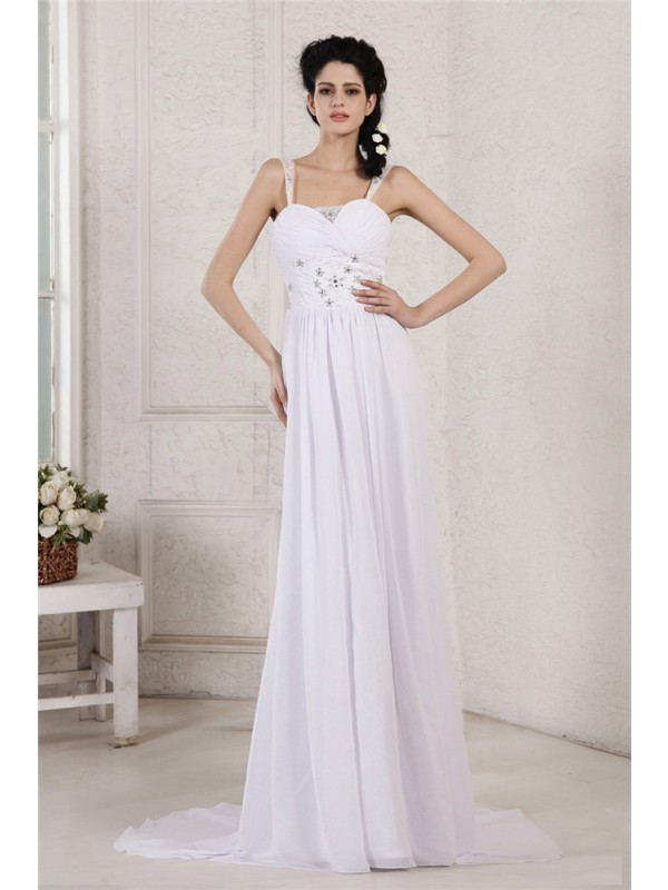 Sheath/Column Spaghetti Strap Pleats Ruched Beading Applique Long Chiffon Wedding Dresses