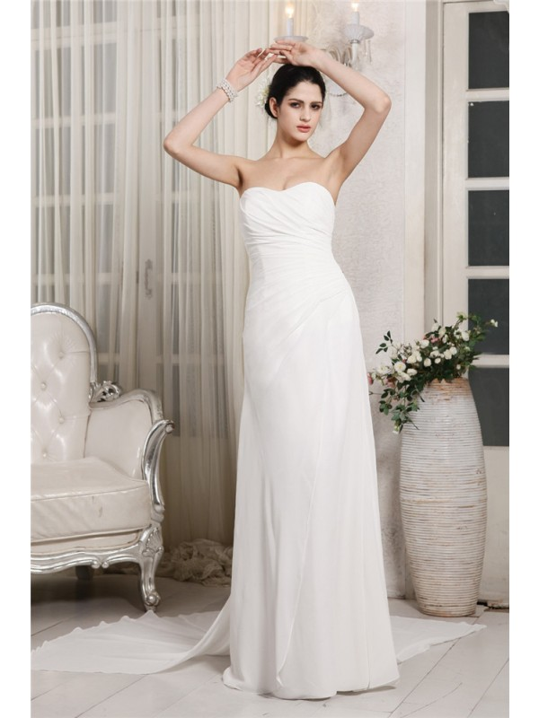 Sheath/Column Sweetheart Sleeveless Ruffles Long Chiffon Wedding Dresses