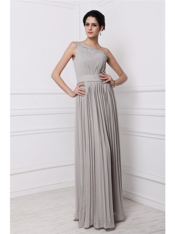 Sheath/Column One-Shoulder Sleeveless Beading Pleats Long Chiffon Dresses
