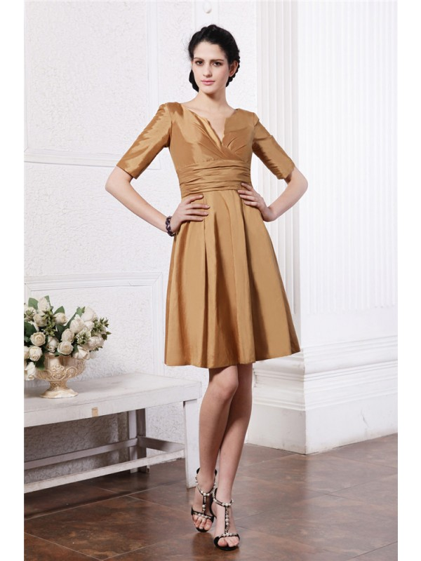 Sheath/Column V-neck Half Sleeves Pleats Taffeta Bridesmaid Dresses