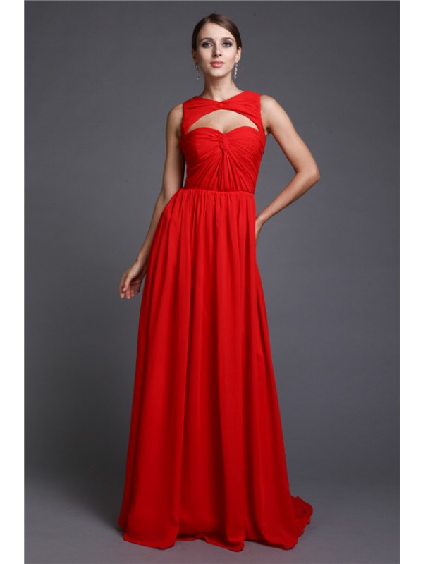 A-Line/Princess Long Sleeveless Ruffles Chiffon Dresses