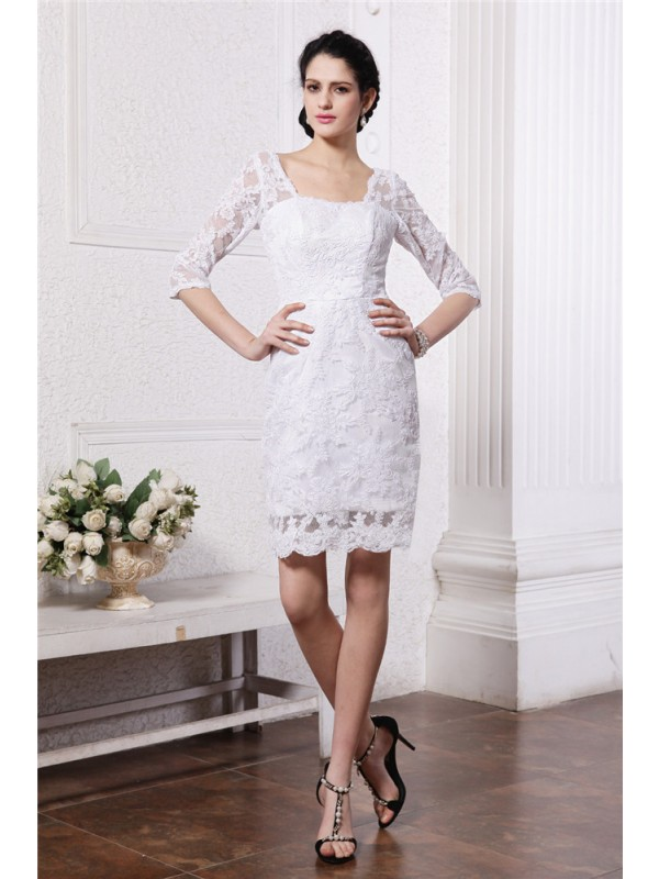 Sheath/Column Half Sleeves Bateau Short Lace Wedding Dresses