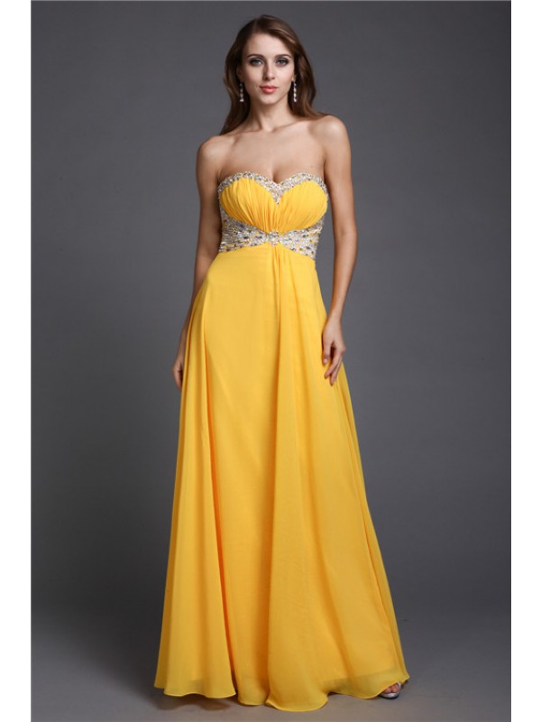 A-Line/Princess Sleeveless Sweetheart Beading Long Chiffon Dresses