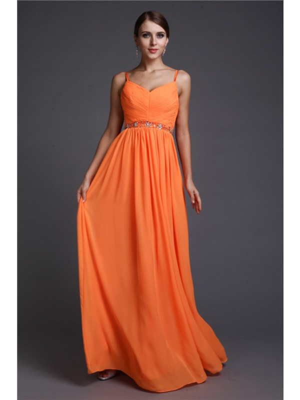 A-Line/Princess Spaghetti Straps Sleeveless Beading Long Chiffon Dresses