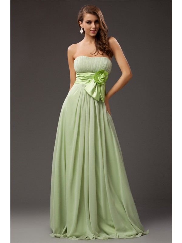 25dd94c1a2af Sheath/Column Strapless Sleeveless Ruffles Long Chiffon Elastic Woven Satin  Bridesmaid Dresses ...