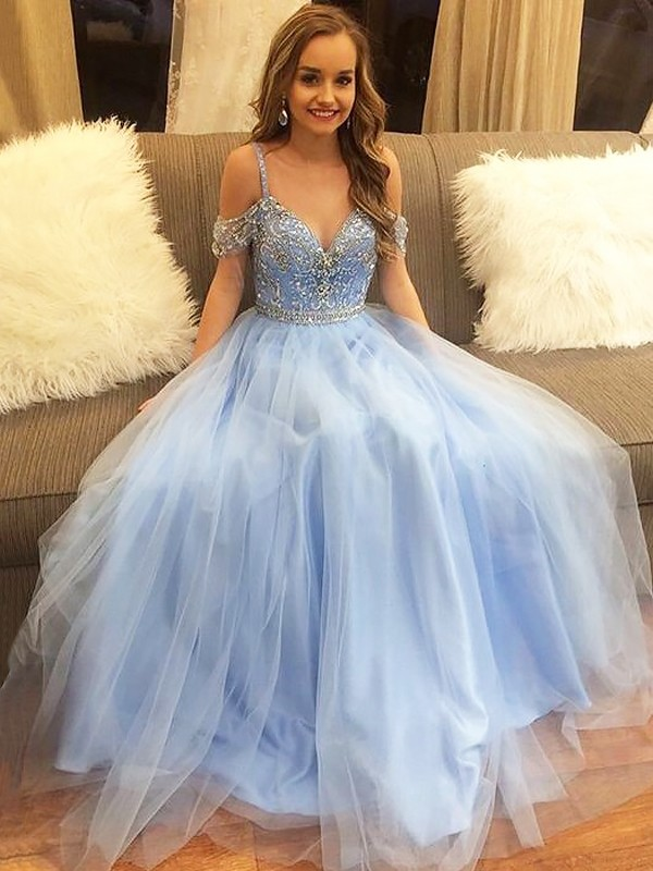 A-Line Off-the-Shoulder Floor-Length Tulle Sleeveless Beading Dresses