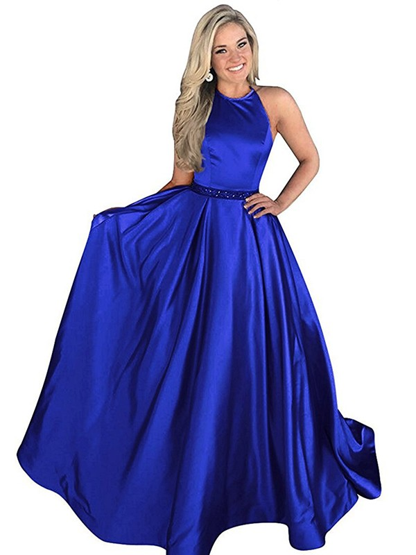 A-Line Halter Sleeveless Sweep/Brush Train Beading Satin Dresses