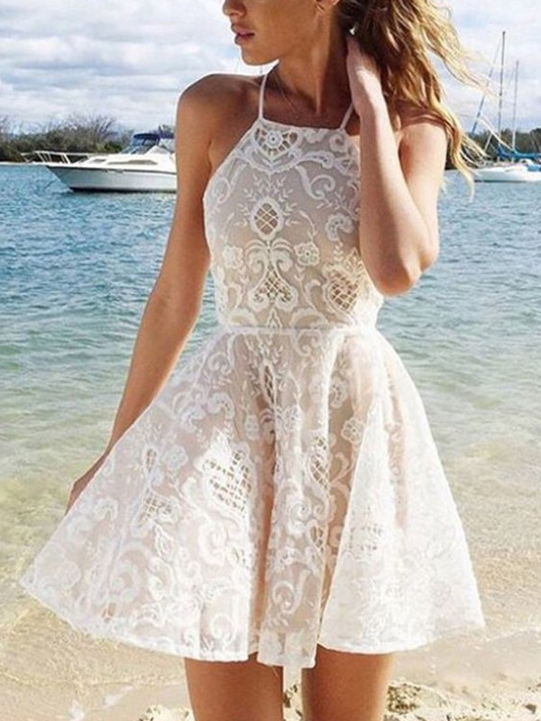 A-Line/Princess Sleeveless Halter Lace Spandax Short/Mini Dresses