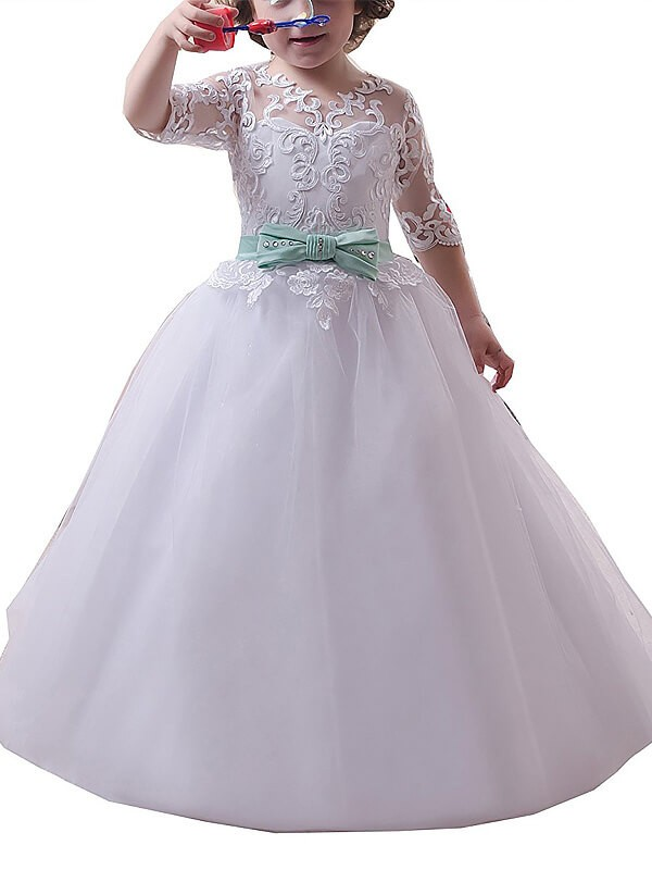 Ball Gown Jewel 1/2 Sleeves Lace Floor-Length Tulle Flower Girl Dresses