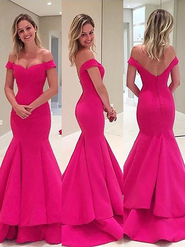 Mermaid Sleeveless Off-the-Shoulder Satin Layers Sweep/Brush Train Dresses
