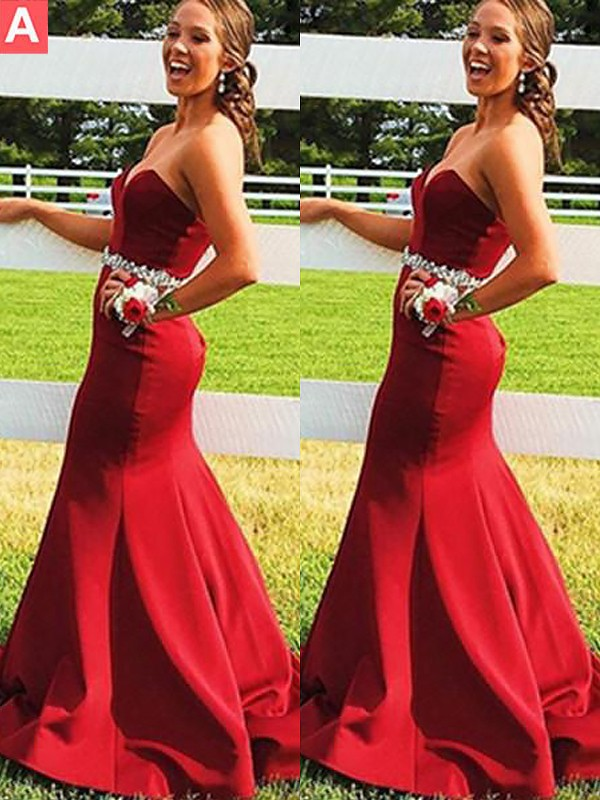Mermaid Sleeveless Sweetheart Satin Beading Sweep/Brush Train Dresses
