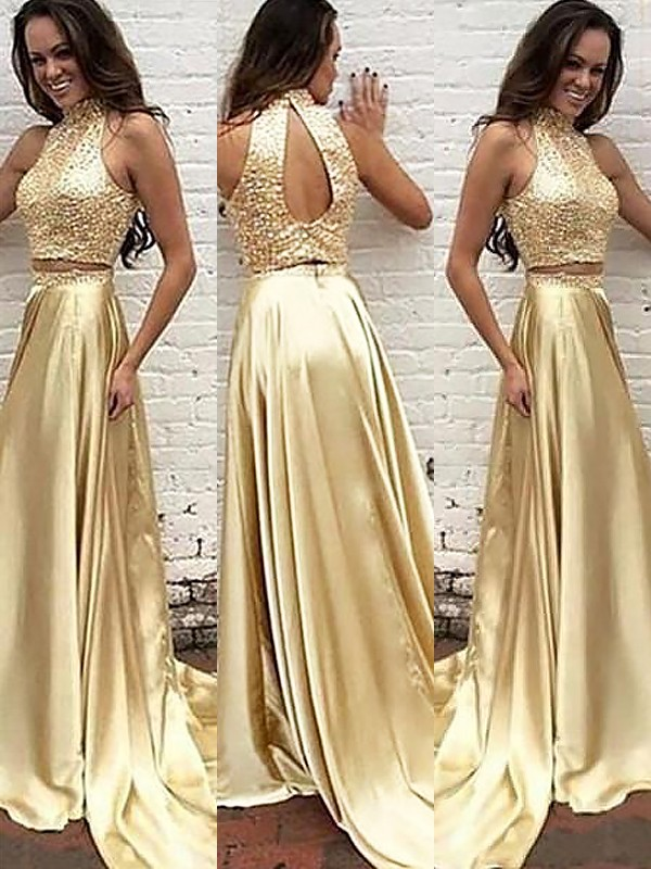 A-Line High Neck Sleeveless Satin Sweep/Brush Train Beading Two Piece Dresses