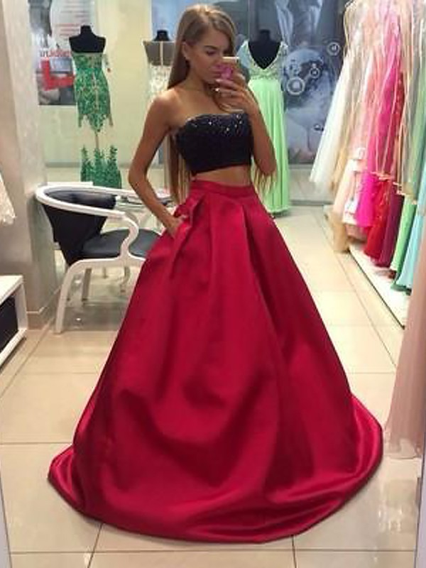 A-Line Strapless Sleeveless Tulle Floor-Length Beading Two Piece Dresses
