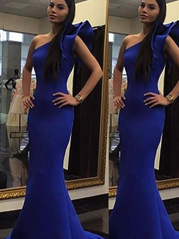 Mermaid Sleeveless One-Shoulder Ruffles Sweep/Brush Train Satin Dresses