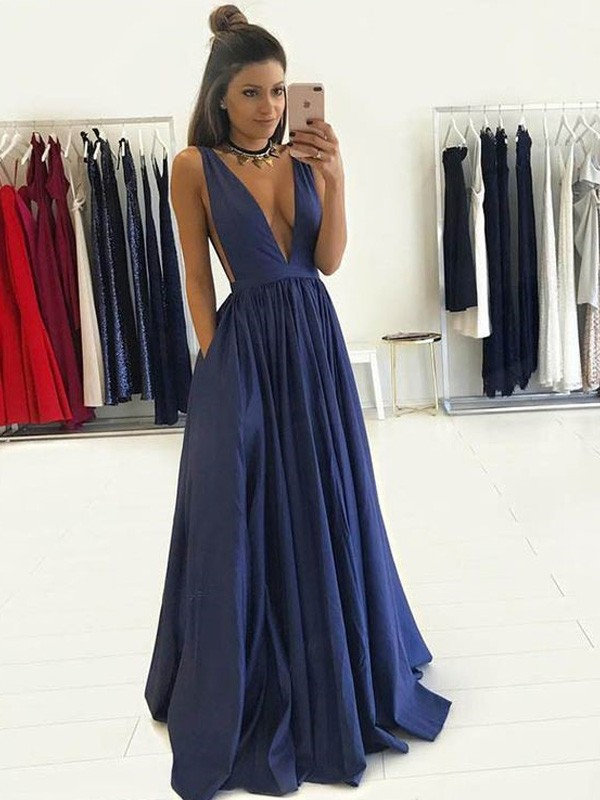 A-Line/Princess V-neck Sleeveless Floor-Length Taffeta Dresses