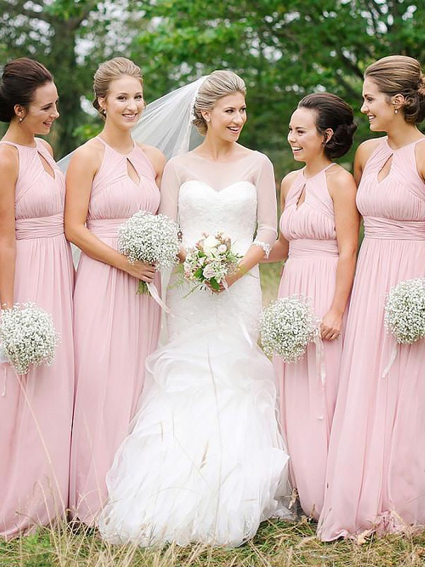 A-Line Sleeveless Scoop Floor-Length Chiffon Bridesmaid Dresses