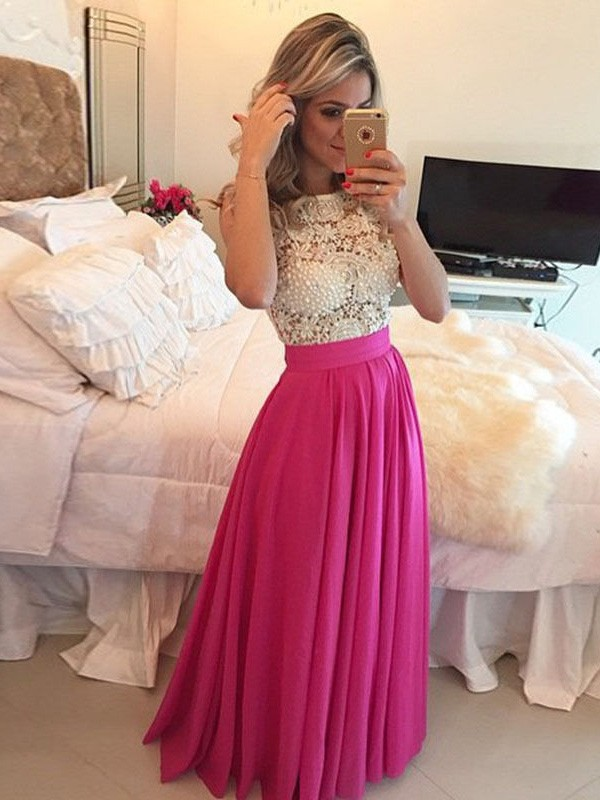 A-Line/Princess Scoop Sleeveless Lace Floor-Length Chiffon Dresses