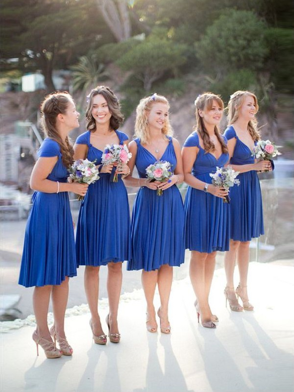 A-Line/Princess Sleeveless V-neck Short/Mini Chiffon Bridesmaid Dresses