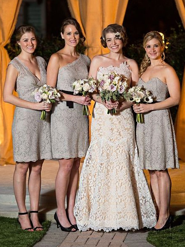 Sheath/Column Lace Sleeveless Floor-Length Bridesmaid Dresses