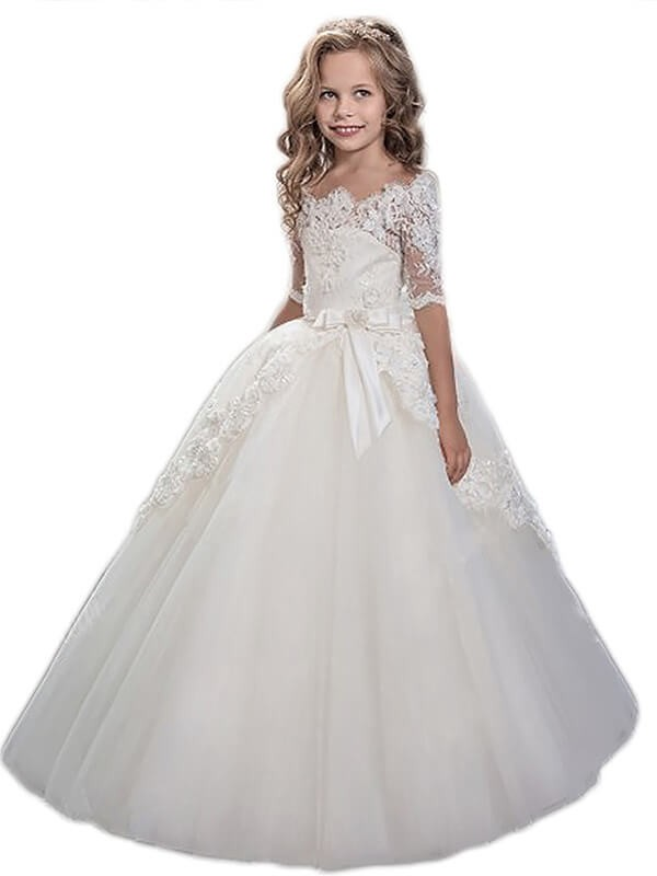 Ball Gown Off-the-Shoulder Short Sleeves Applique Floor-Length Tulle Flower Girl Dresses