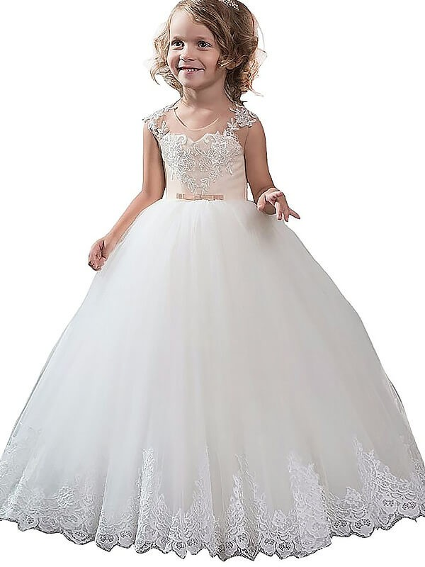 Ball Gown Scoop Sleeveless Applique Tulle Floor-Length Flower Girl Dresses