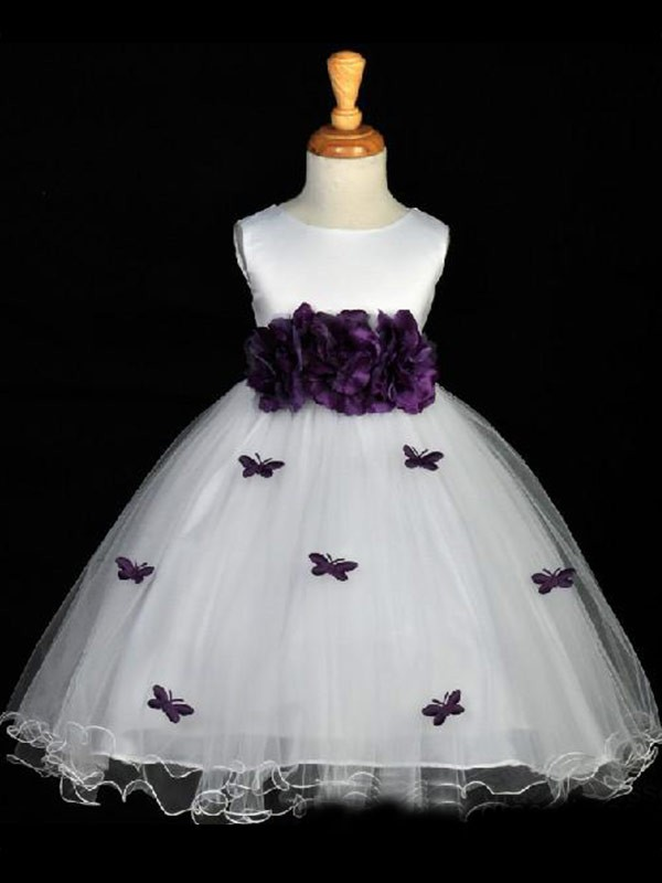 A-line Scoop Hand-made Flower Sleeveless Ankle-length Organza Flower Girl Dress