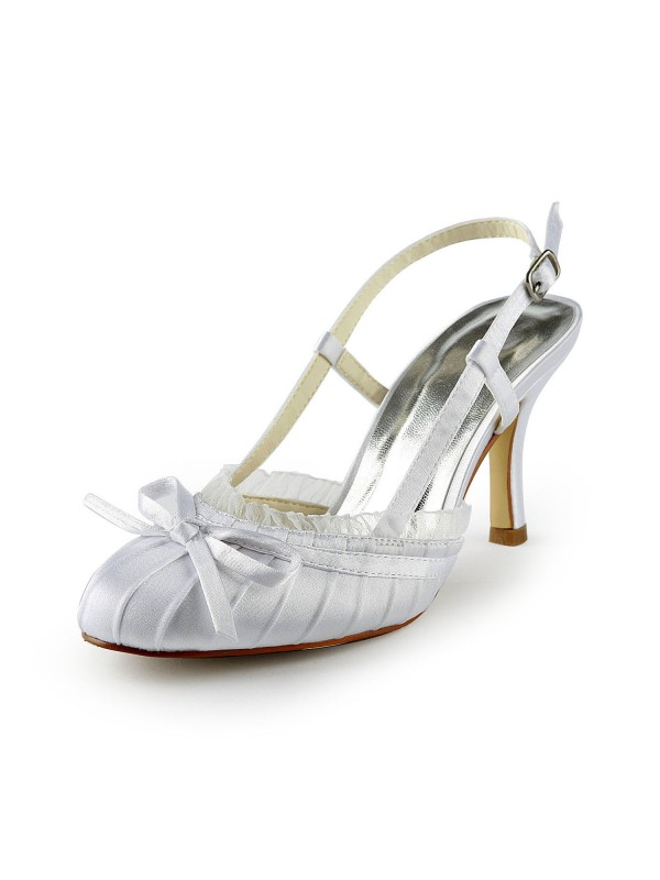 Women's Pretty Satin Stiletto Heel Sandals Closed Toe With Buckle White Wedding Shoes