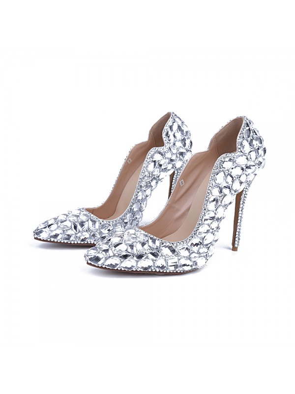 Women's Patent Leather Closed Toe Stiletto Heel With Rhinestone Silver Wedding Shoes