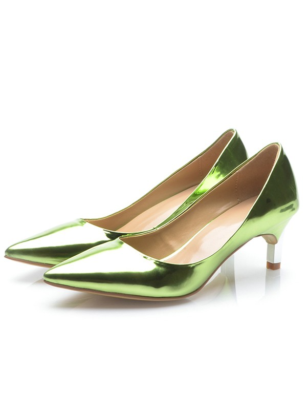 Women's Green Patent Leather Closed Toe Cone Heel High Heels