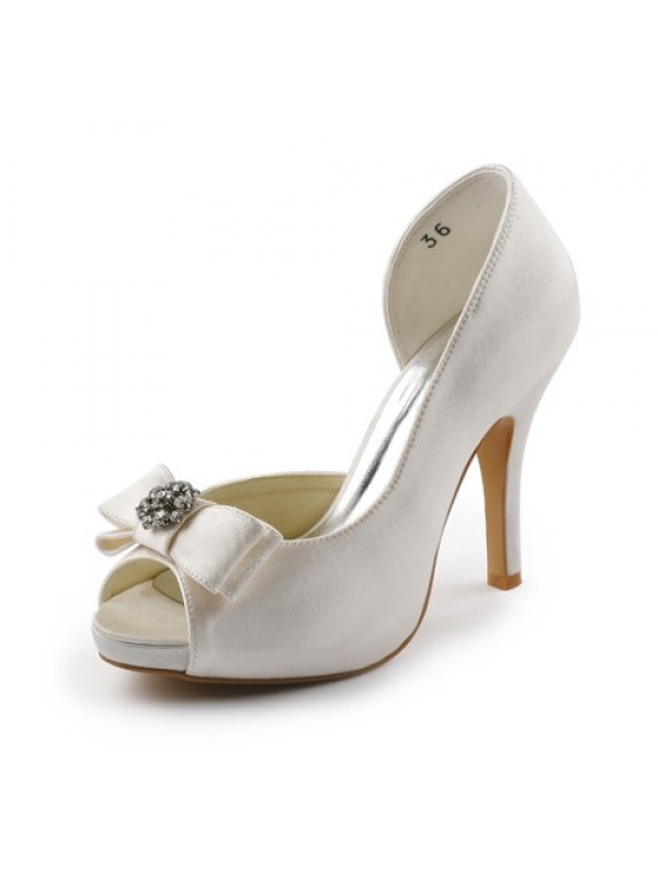 Women's Satin Stiletto Heel Peep Toe Platform Ivory Wedding Shoes With Bowknot