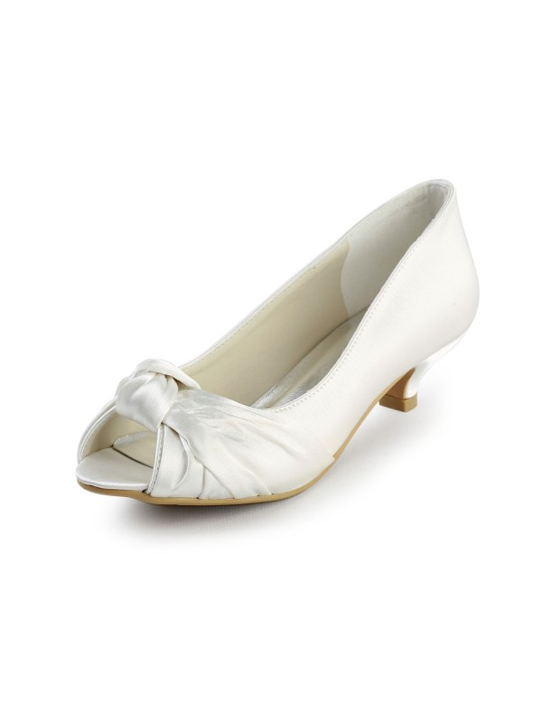 Women's Satin Kitten Heel Peep Toe Sandals White Wedding Shoes With Bowknot
