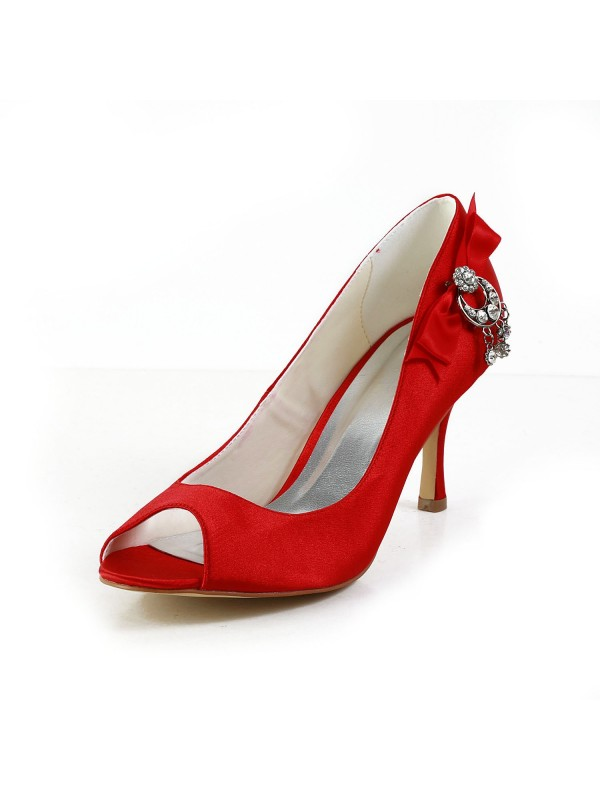 Women's Satin Peep Toe Spool Heel With Bowknot Red Wedding Shoes