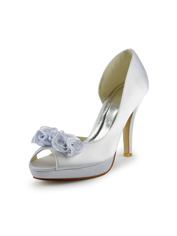 Women's Satin Stiletto Heel Peep Toe With Flower White Wedding Shoes