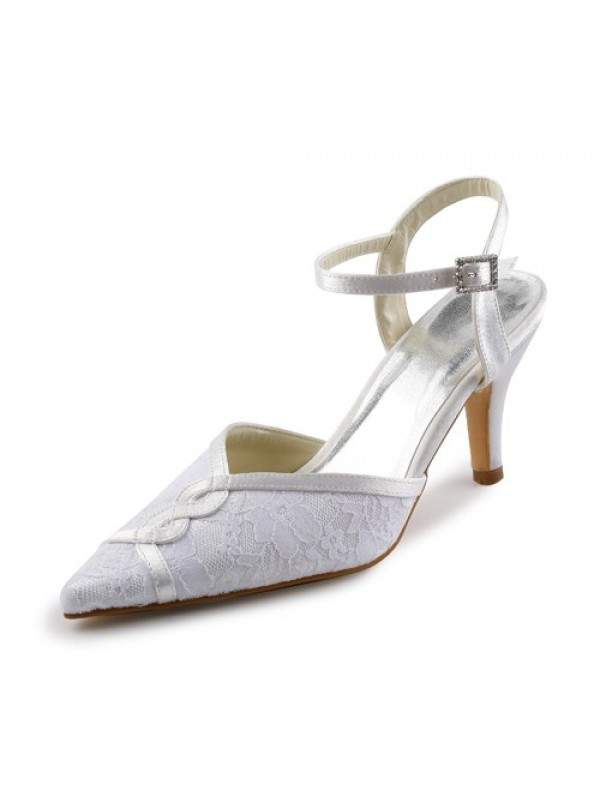 Women's Satin Stiletto Sandals With Stitching Lace White Wedding Shoes