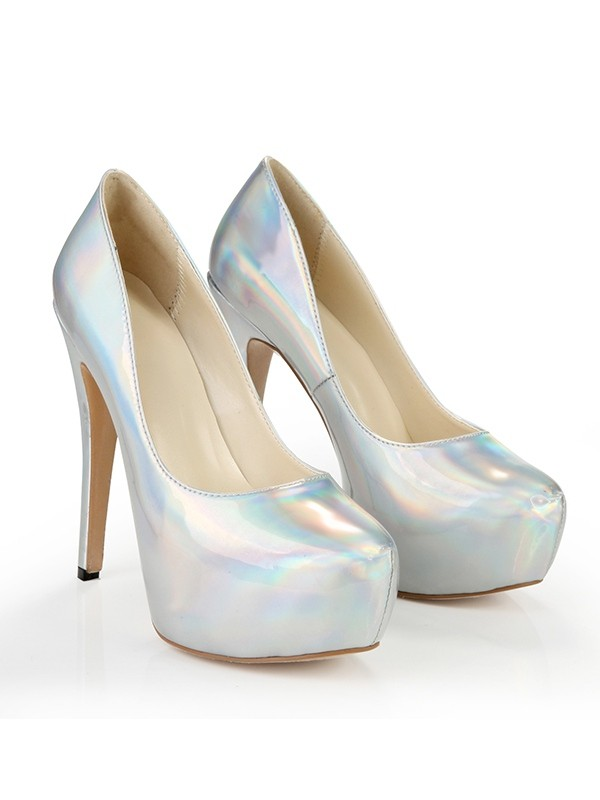 Women's Closed Toe Platform Patent Leather Stiletto Heel Silver Wedding Shoes