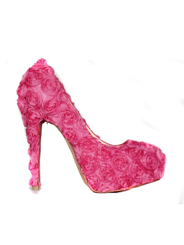 Women's Closed Toe Stiletto Heel Platform With Flowers Pink Wedding Shoes