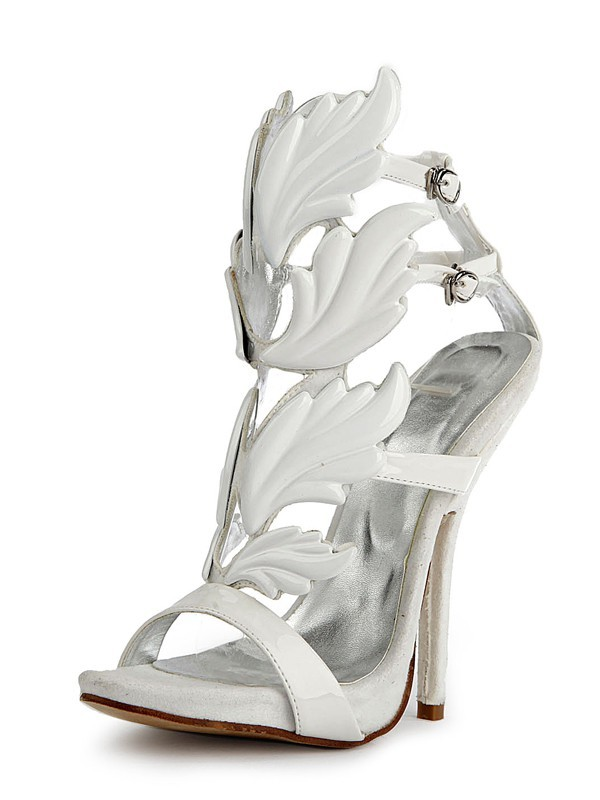 Women's Patent Leather Peep Toe Stiletto Heel Platform Sandals Shoes